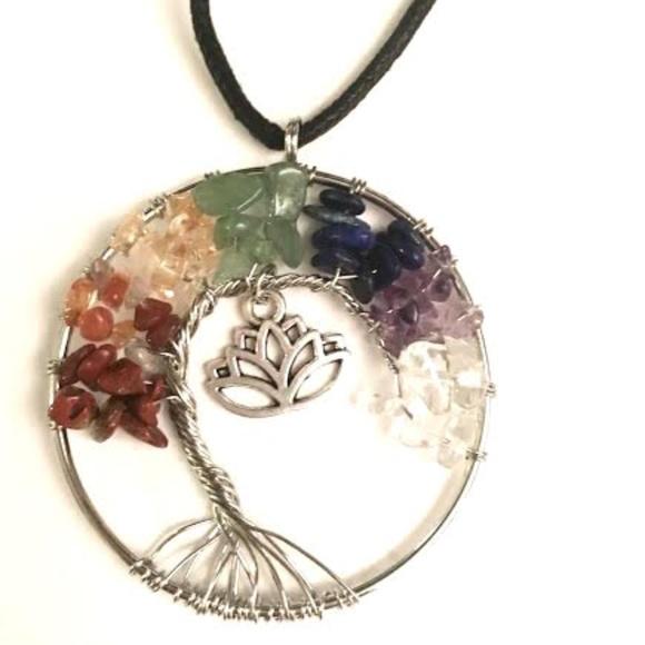 Jewelry Rainbow Crystal Lotus Flower Tree Of Life Pendant Poshmark